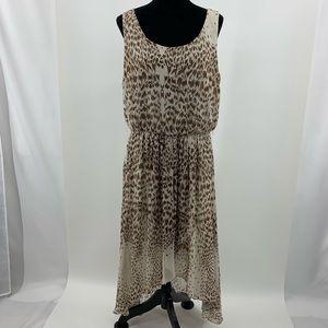 Brown & Cream Layered Scoop Neck Dress